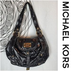 MICHAEL KORS Embossed Python Hobo Shoulder Bag
